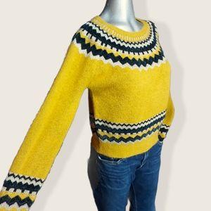 Zara Mustard Yellow Knit Chevron Sweater Small